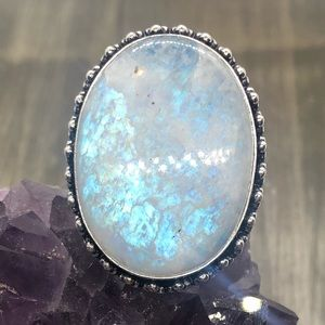 Large bright blue flashy moonstone ring marked 925